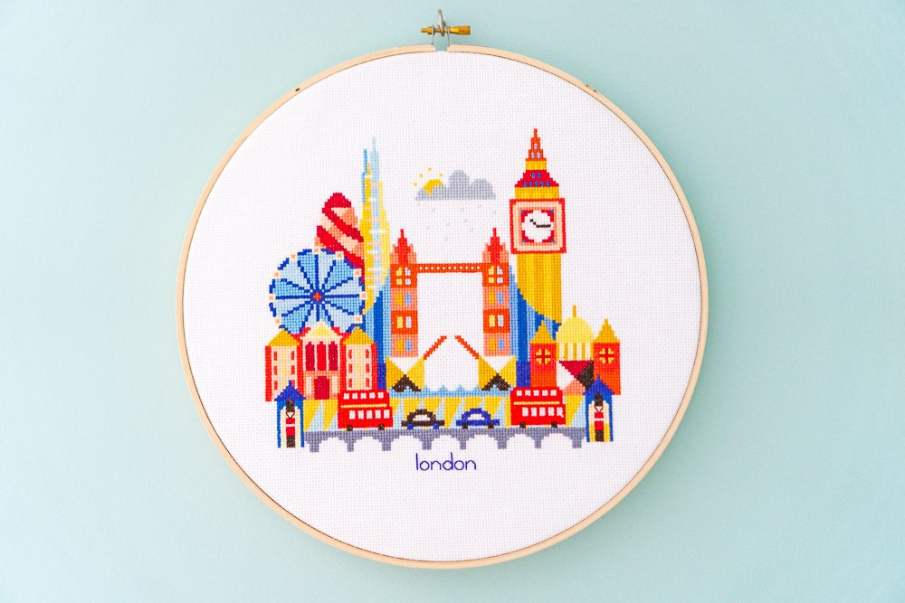 London cross-stitch hoop art