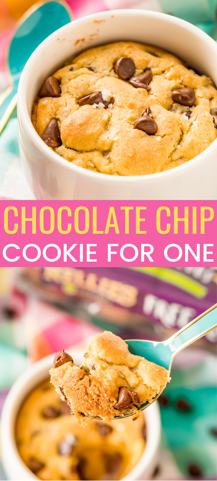 This Chocolate Chip Cookie for One is the perfect individual dessert when you're craving something sweet and don't want to make a huge batch of cookies! via @sugarandsoulco