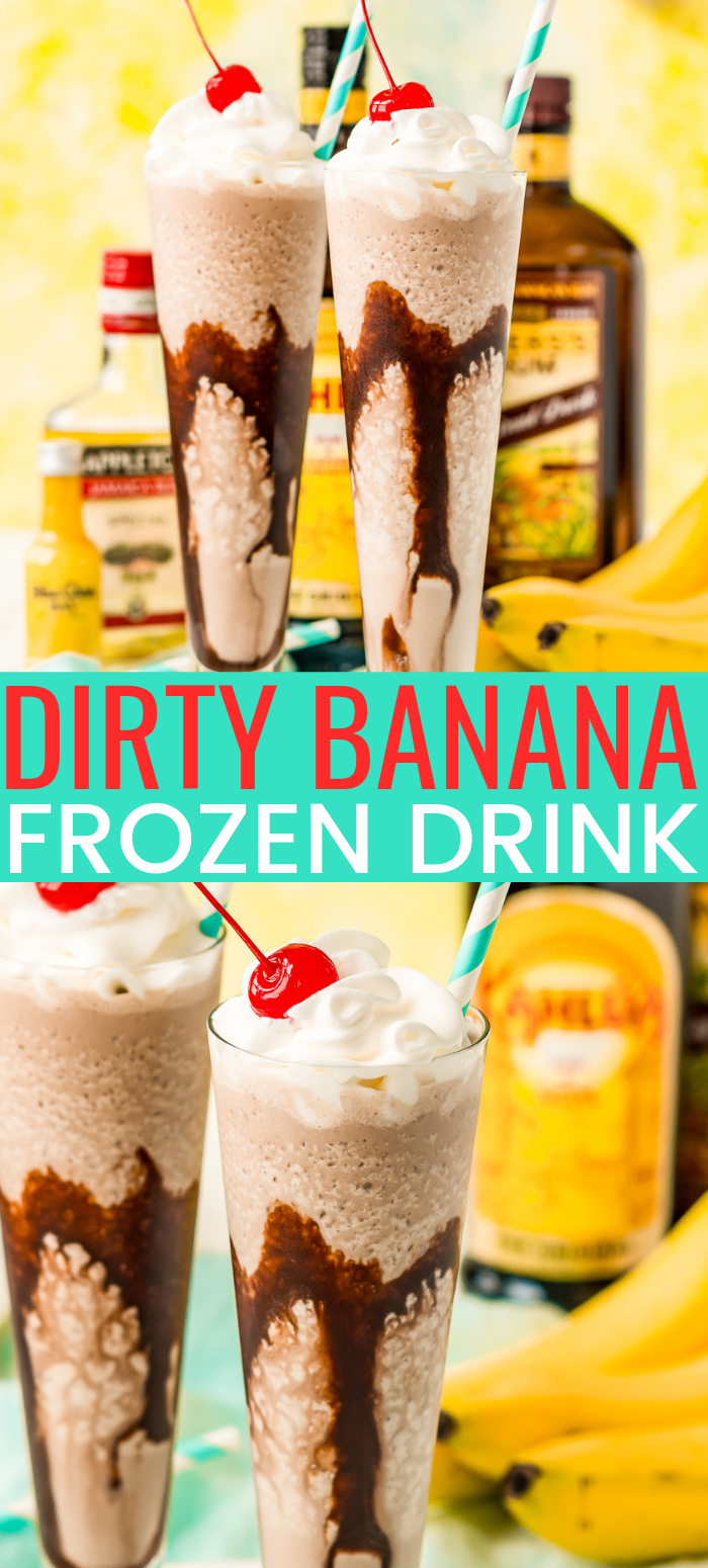 This Dirty Banana cocktail recipe is a dangerously delicious and boozy frozen drink recipe loaded with rum, banana, coffee, and chocolate flavors! Ready to serve in just 5 minutes! via @sugarandsoulco