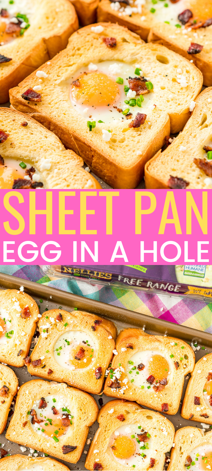 This Sheet Pan Egg In A Hole recipe is a simple way to prepare the traditional Egg-In-A-Hole breakfast dish for a crowd in less than 20 minutes! via @sugarandsoulco