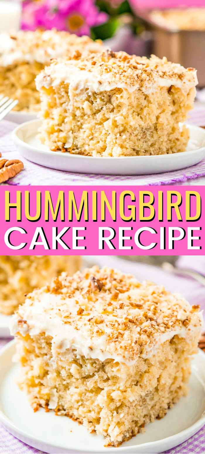 Hummingbird Cake is a classic recipe made with mashed bananas, crushed pineapple, and shredded coconut, and it's topped with a sweet caramel cream cheese frosting and pecan pieces! via @sugarandsoulco