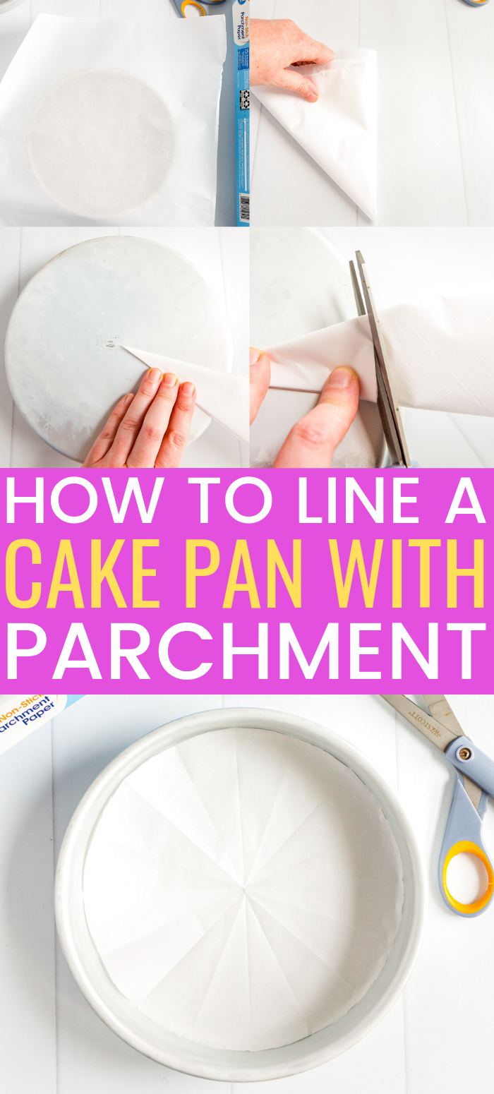 This step by step tutorial will walk you through how to line a round cake pan with parchment paper so that you can get baking delicious cakes. via @sugarandsoulco