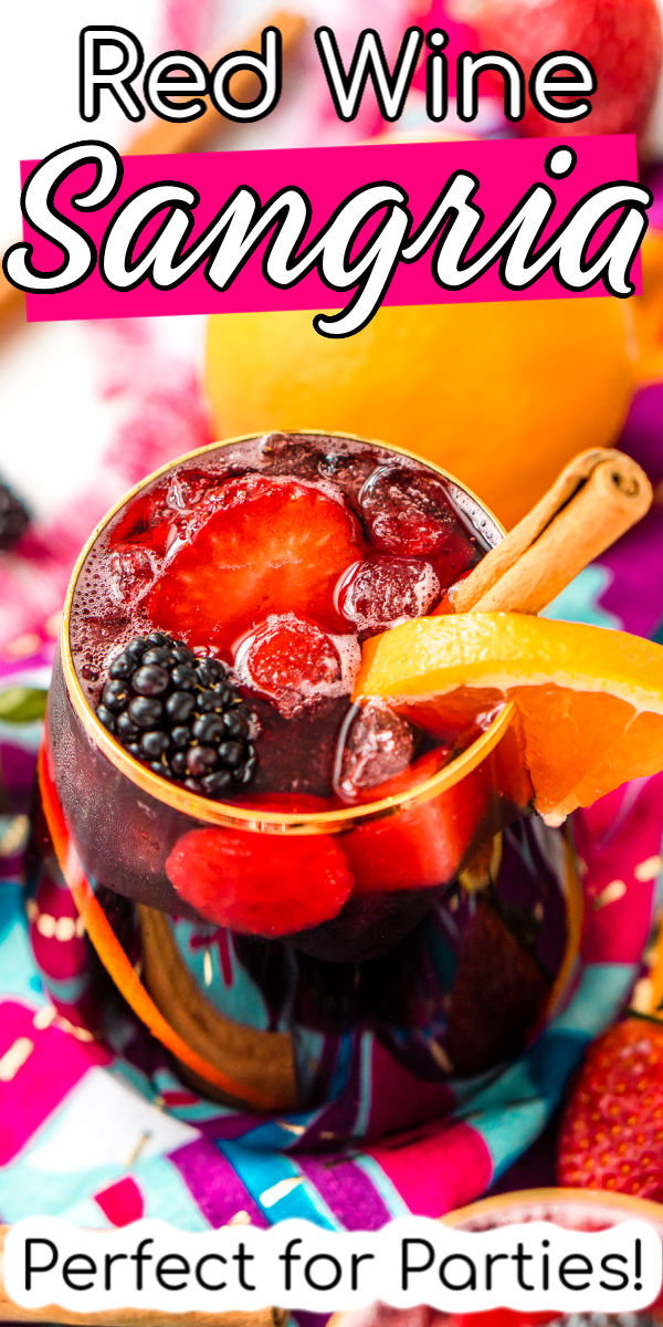 Red Wine Sangria is a delicious batch cocktail that isn't overly sweet and is made with a mix of red wine, brandy, lemon-lime soda, and loaded with oranges, apples, strawberries, and blackberries, plus a touch of cinnamon! via @sugarandsoulco