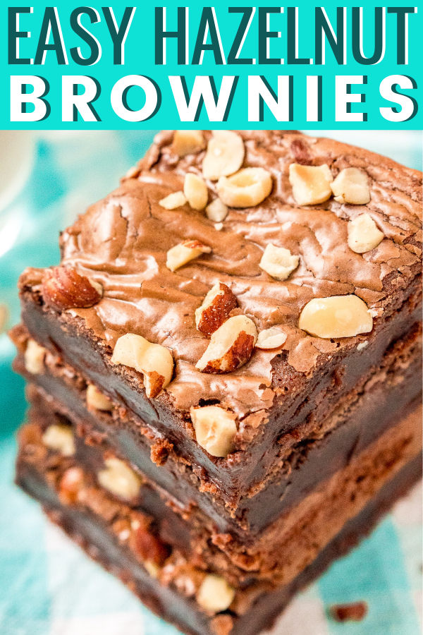 These Hazelnut Brownies are made with 4 ingredients and are ready in just 25 minutes. Hazelnut spread, egg, flour, and salt yield a delicious chocolaty treat! You can add chocolate chips and chopped hazelnuts too. via @sugarandsoulco