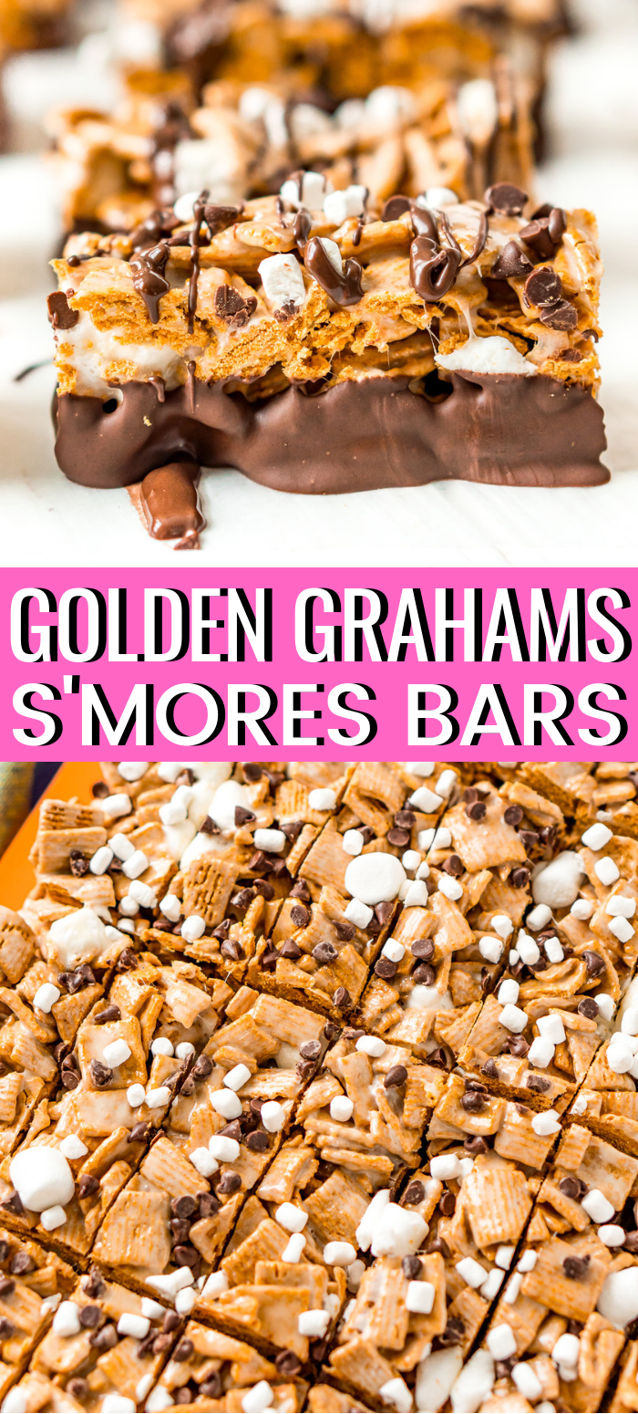 Golden Grahams S'mores Bars combines a favorite breakfast cereal with marshmallow and chocolate for an easy no-bake treat recipe! These Golden Graham Bars come together with just 10 minutes of prep and after an hour or so to set you can slice them and dip them in chocolate for an extra delicious finish! via @sugarandsoulco