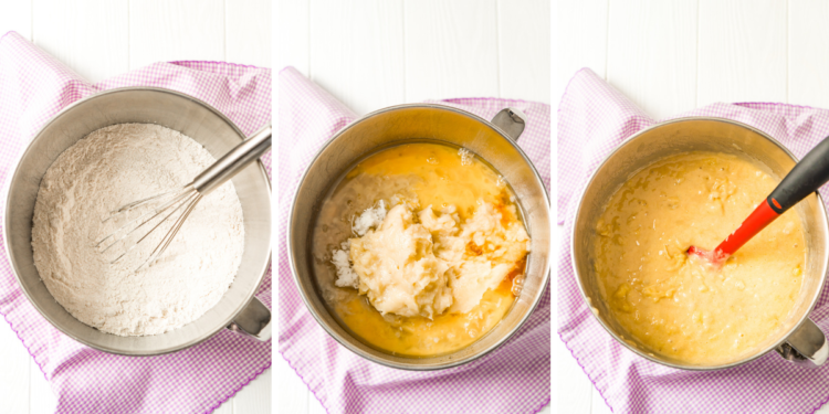 Mixing up hummingbird cake batter in a stainless steel bowl. Three process photos side by side.