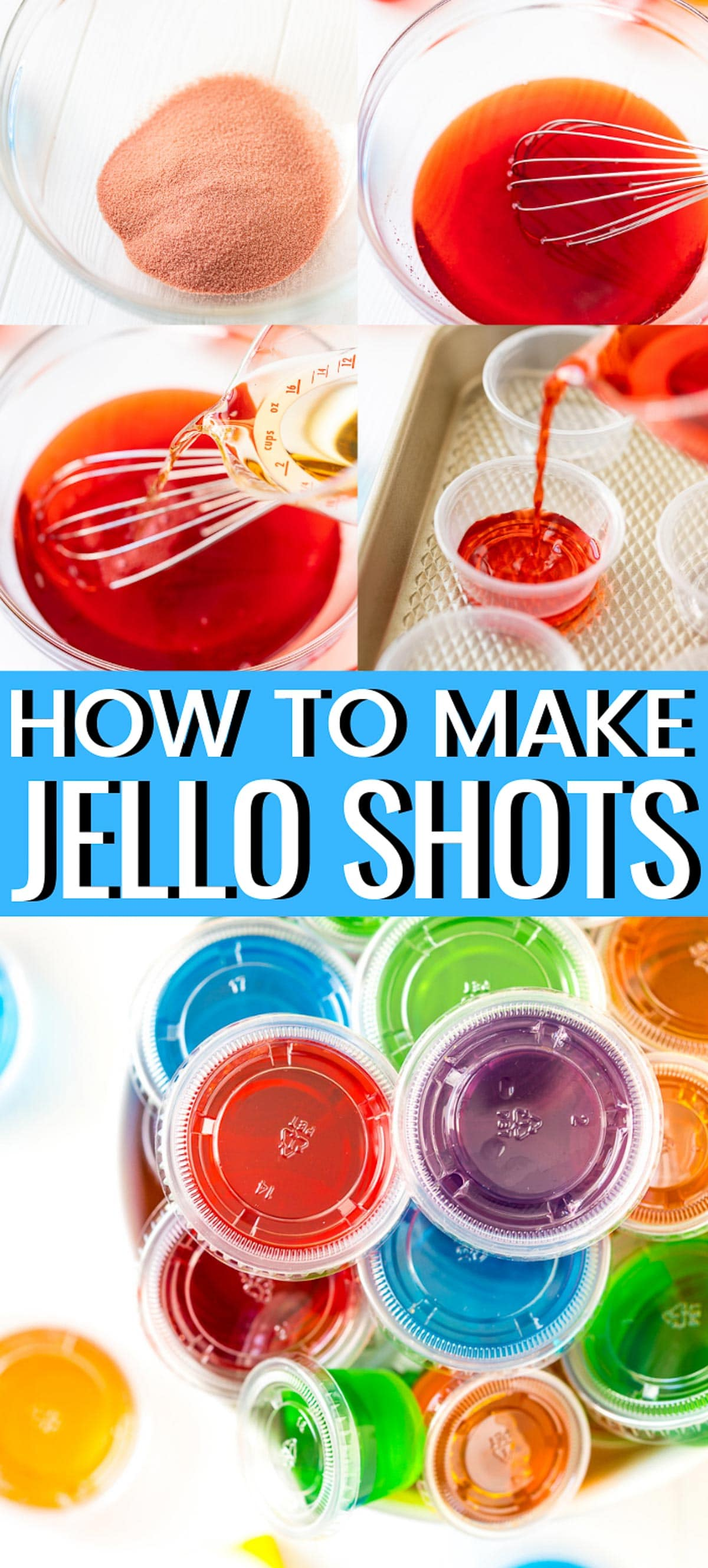 Jello Shots are a fun and easy fruity cocktail shot made with Jell-O or gelatin and alcohol! via @sugarandsoulco
