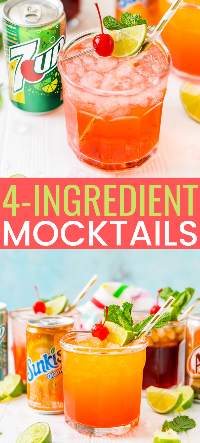 This 4-Ingredient Mocktail recipe can be made three different ways by using your favorite sodas for a bubbly and fun drink for summer entertaining. via @sugarandsoulco