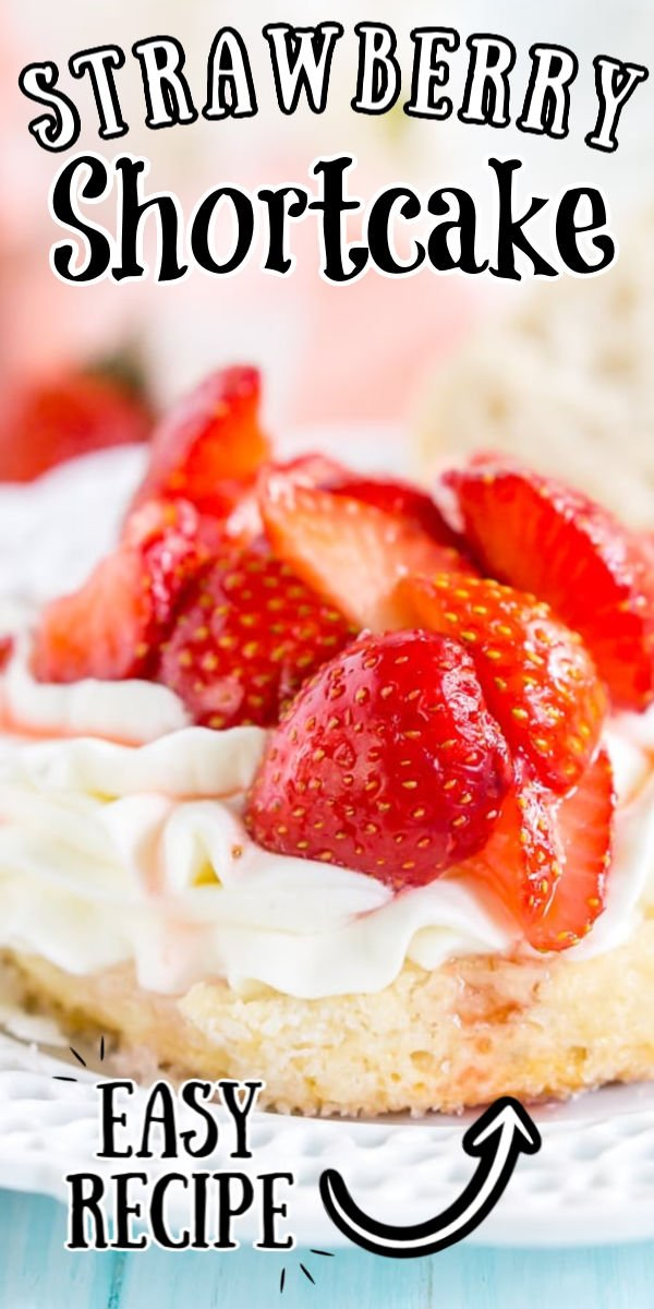 This Easy Strawberry Shortcake recipe is made with fresh strawberries, homemade whipped cream, and a delicious sugar biscuit for a classic summer dessert! via @sugarandsoulco