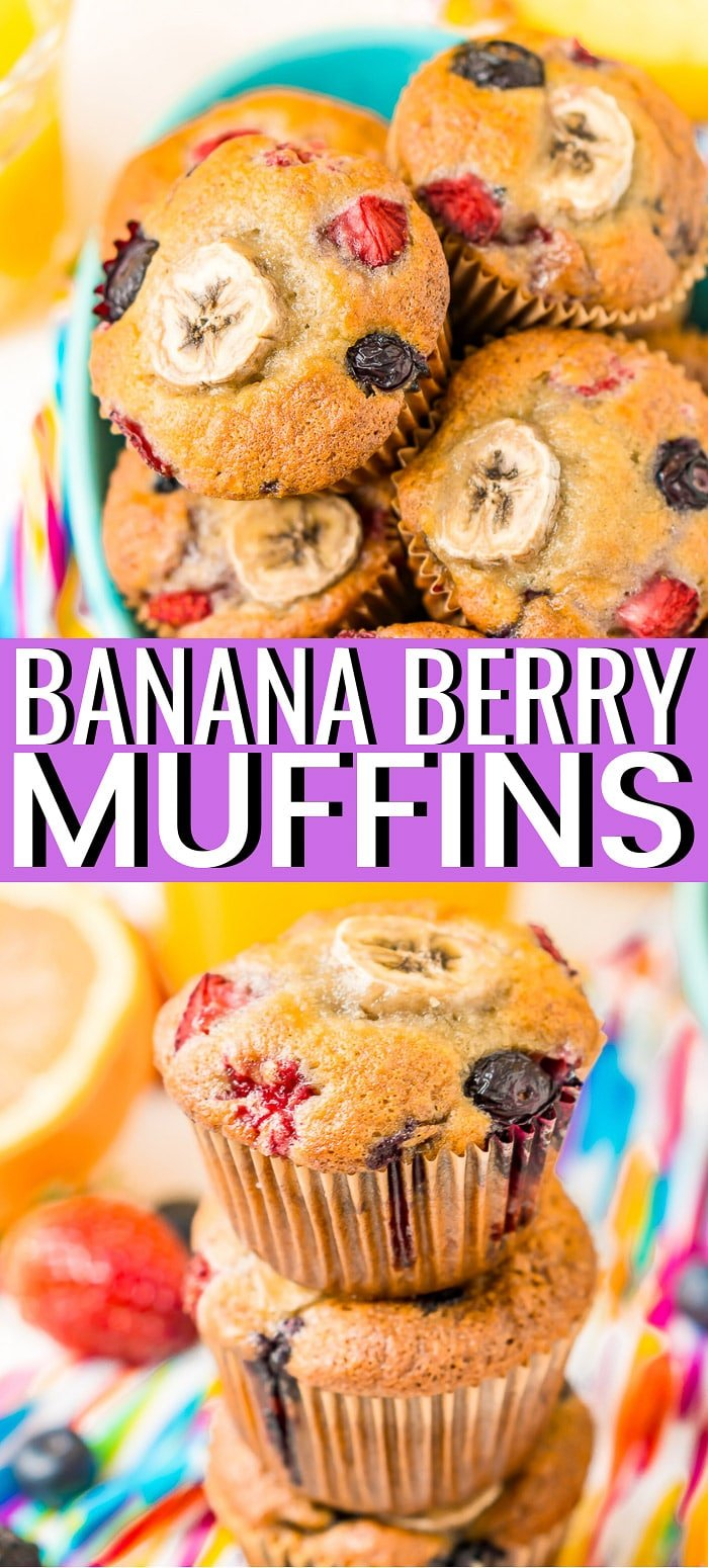 Banana Berry Muffins are loaded with strawberries, blueberries, blackberries, raspberries, and ripe bananas then topped with a sugary crumble. Try making a batch or two with some fresh fruit this season!  via @sugarandsoulco