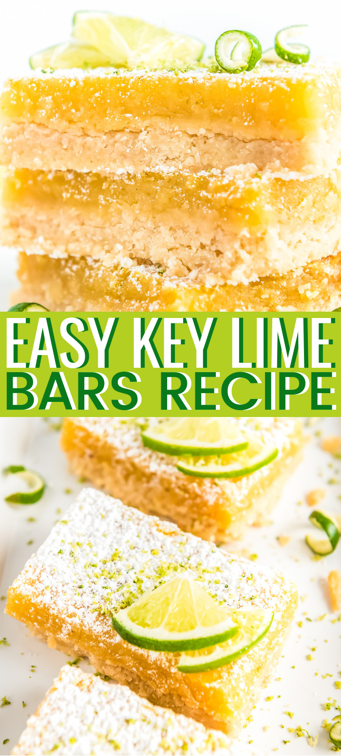 Key Lime Bars are an easy, mouthwatering way to get your citrus fix! Made with a buttery shortbread crust and a soft layer of lime goodness, you'll want to make this treat for all your summer get-togethers! via @sugarandsoulco