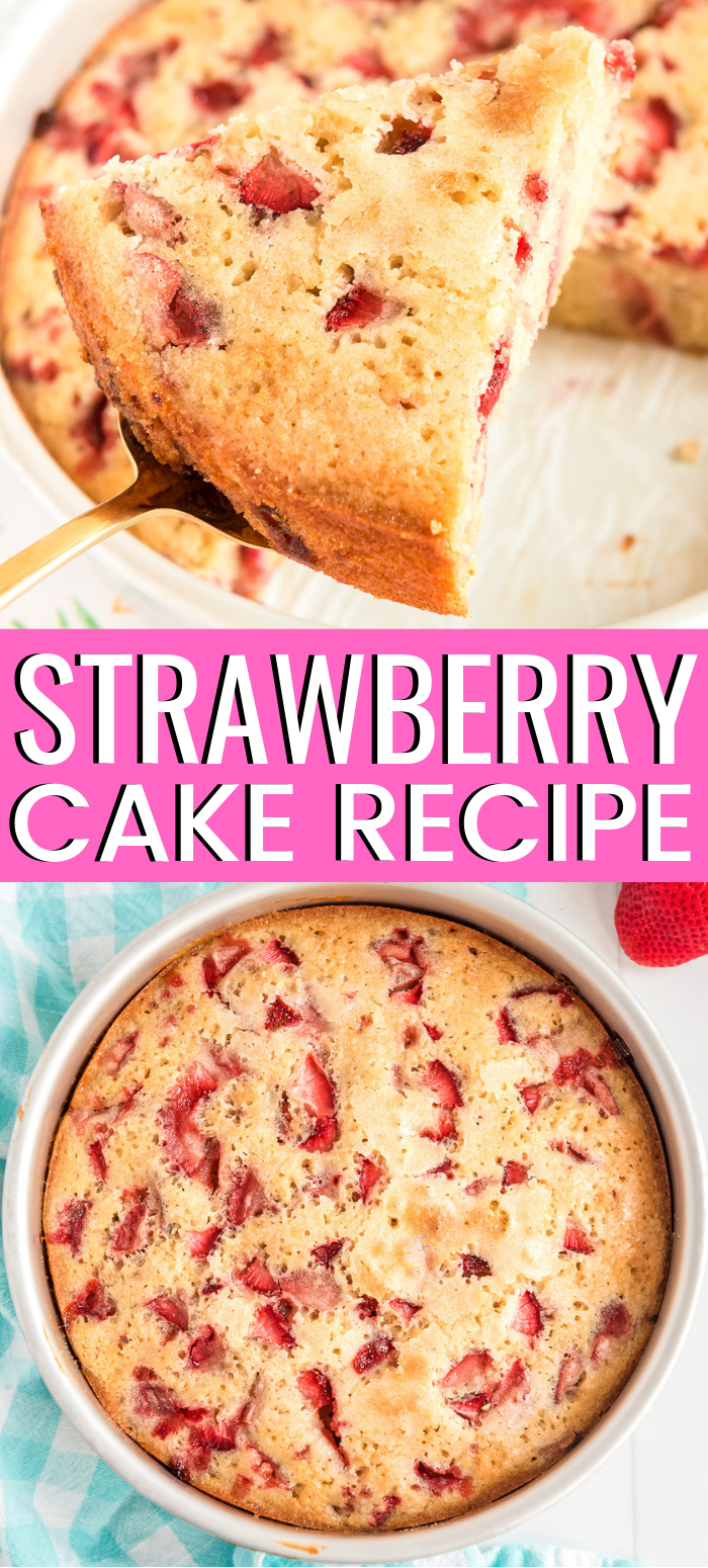 Homemade Strawberry Cake is a simple recipe is filled with fresh juicy strawberries and can be served plain or with various toppings like whipped cream or vanilla ice cream. via @sugarandsoulco