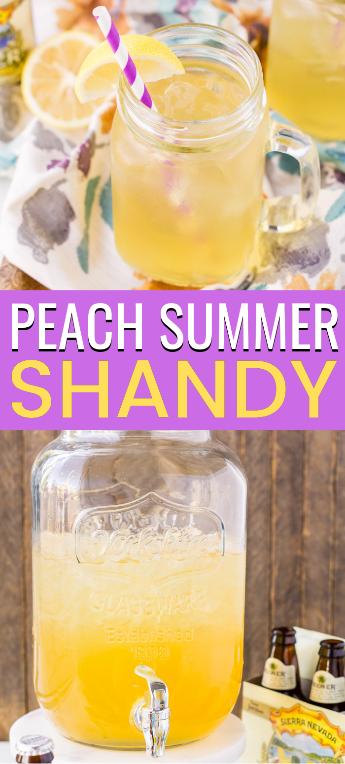 Peach Summer Shandy is a simple 3 ingredients beer cocktail made with a light beer, lemonade, and peach brandy.