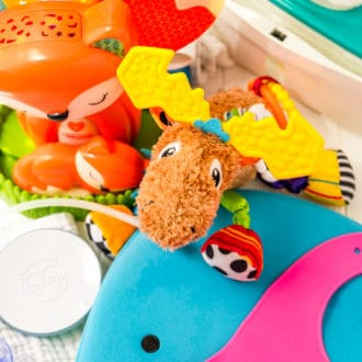 Assortment of baby items.