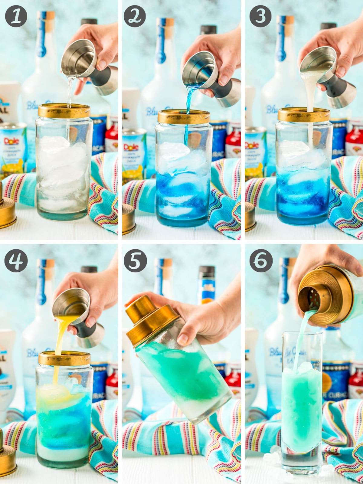 Step-by-step photo collage for how to make a blue cocktail