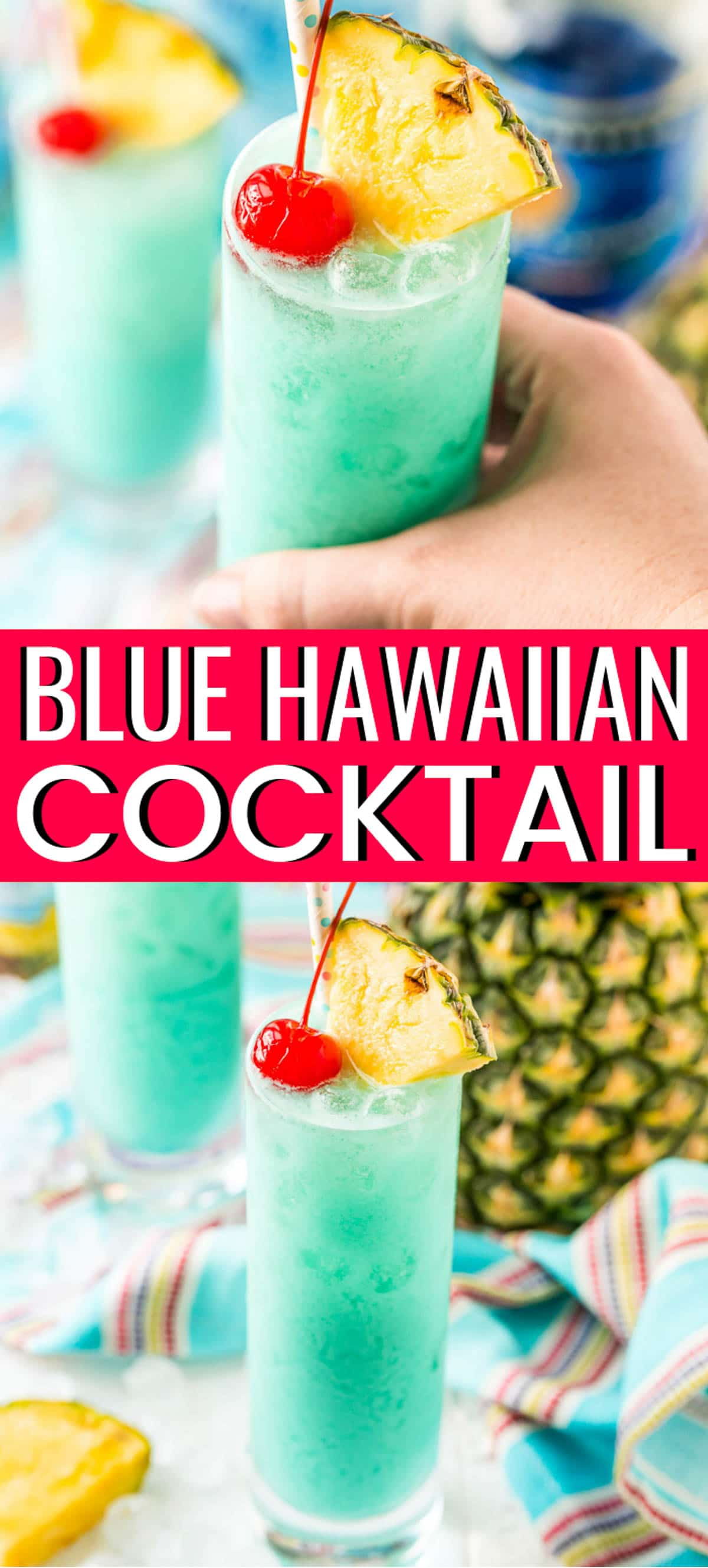 Blue Hawaiian Cocktail is a tropical drink recipe made with rum, blue curaçao, coconut cream, and pineapple juice. Serve it on the rocks or frozen - either way, it's delicious! via @sugarandsoulco