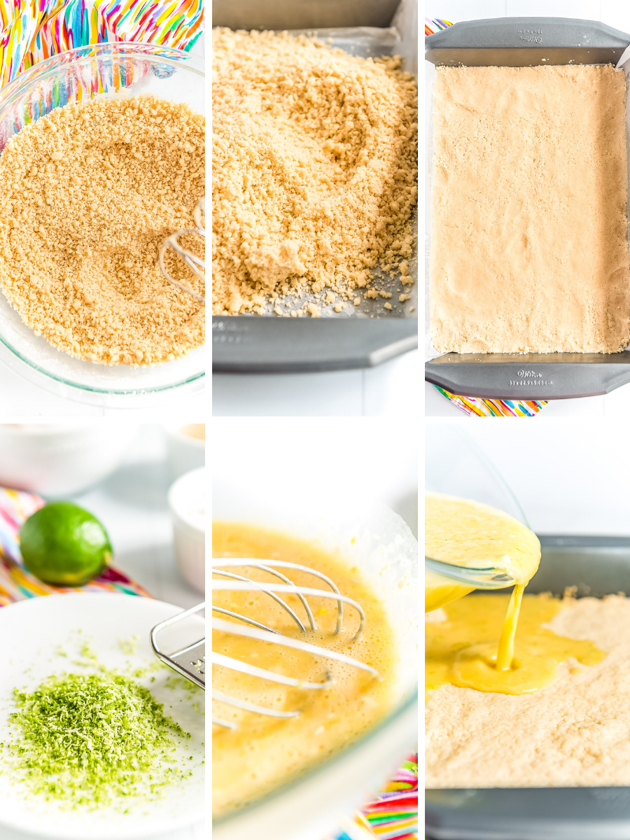 Step-by-step photos showing how to make key lime pie bars.