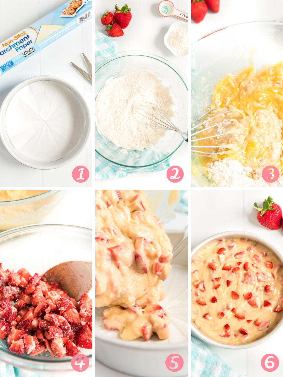 Collage of Step-by-step photos for making strawberry cake.