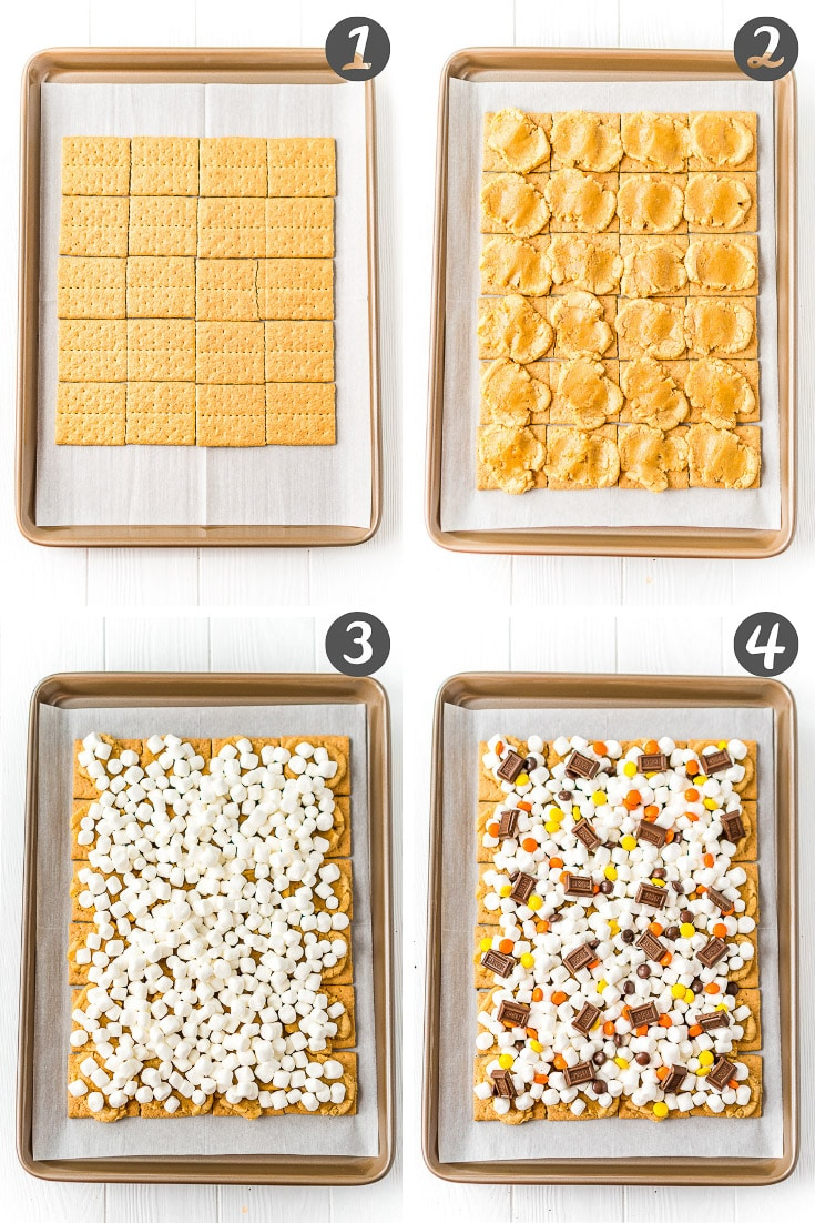 Step-by-step photo collage of how to make smores bars.