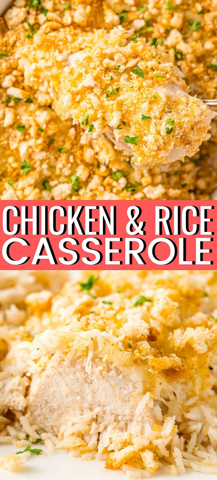 Chicken and Rice Casserole is an easy one-dish chicken dinner recipe made with just six ingredients and takes 5 minutes to prep! via @sugarandsoulco