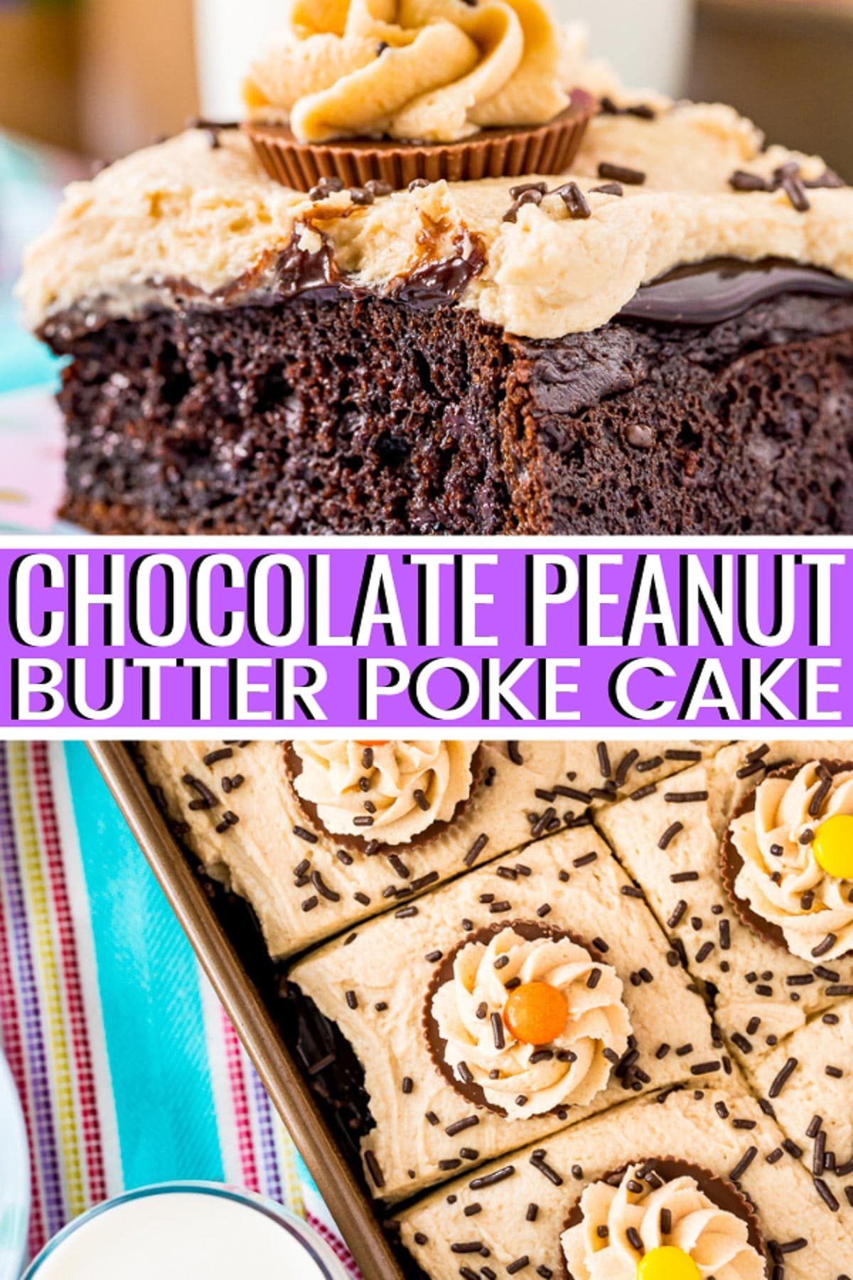 Chocolate Peanut Butter Poke Cake is an easy and decadent sheet cake recipe with rich chocolate and salty peanut butter flavor! via @sugarandsoulco