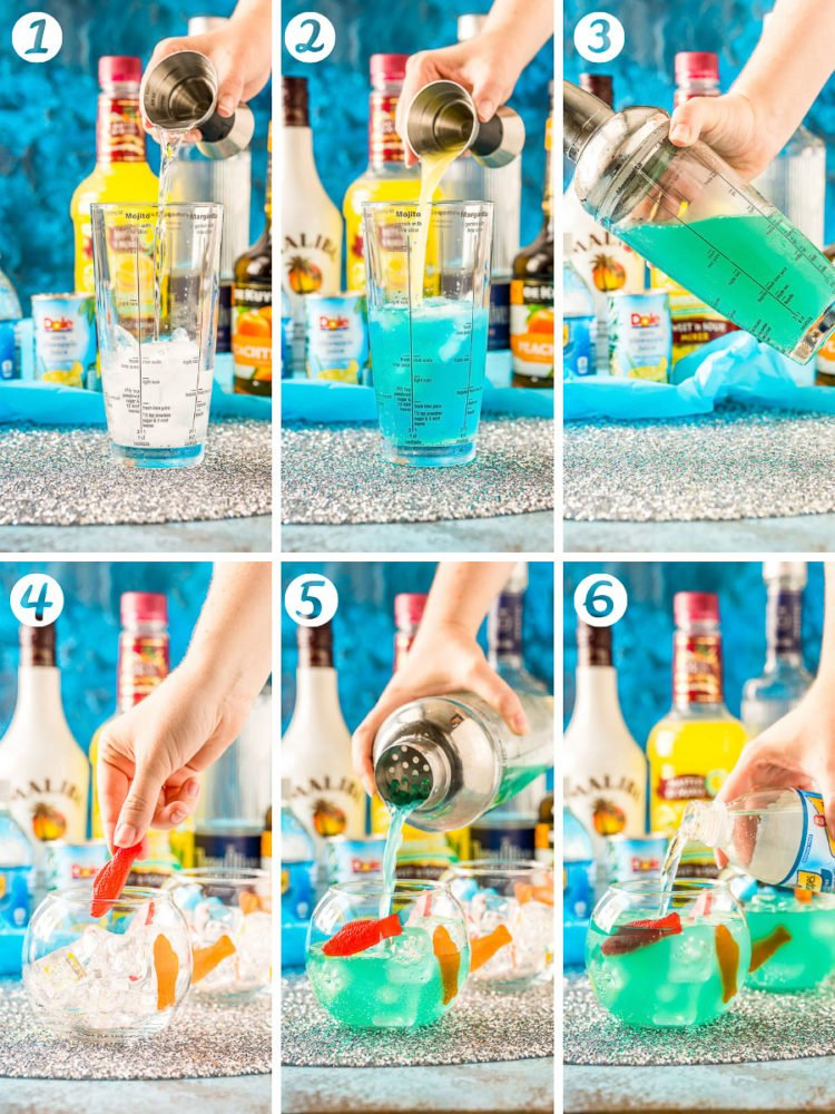 Step-by-step photo collage for how to make fish bowl drinks.
