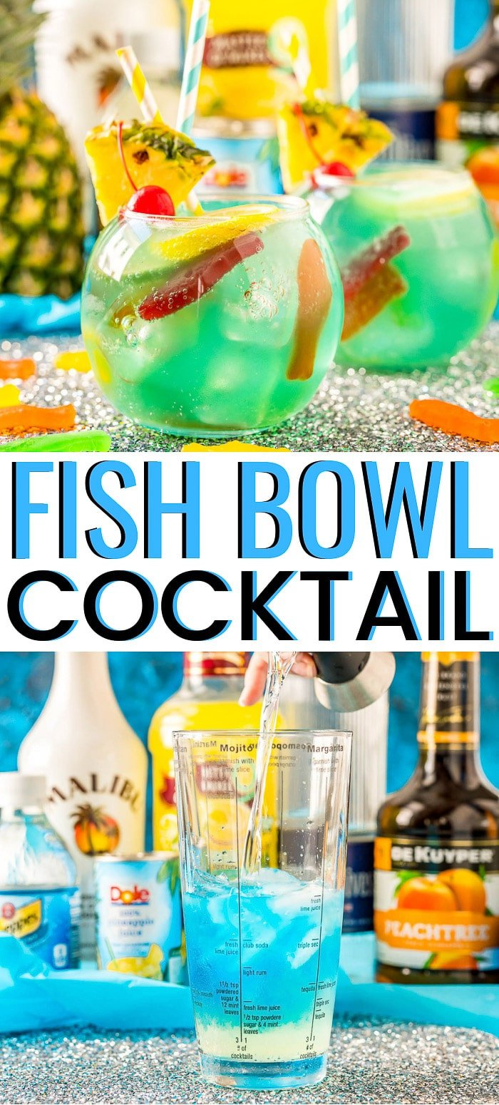 This Fish Bowl Drink is a fruity party cocktail that's served in a fishbowl and made with 4 different kinds of alcohol! via @sugarandsoulco