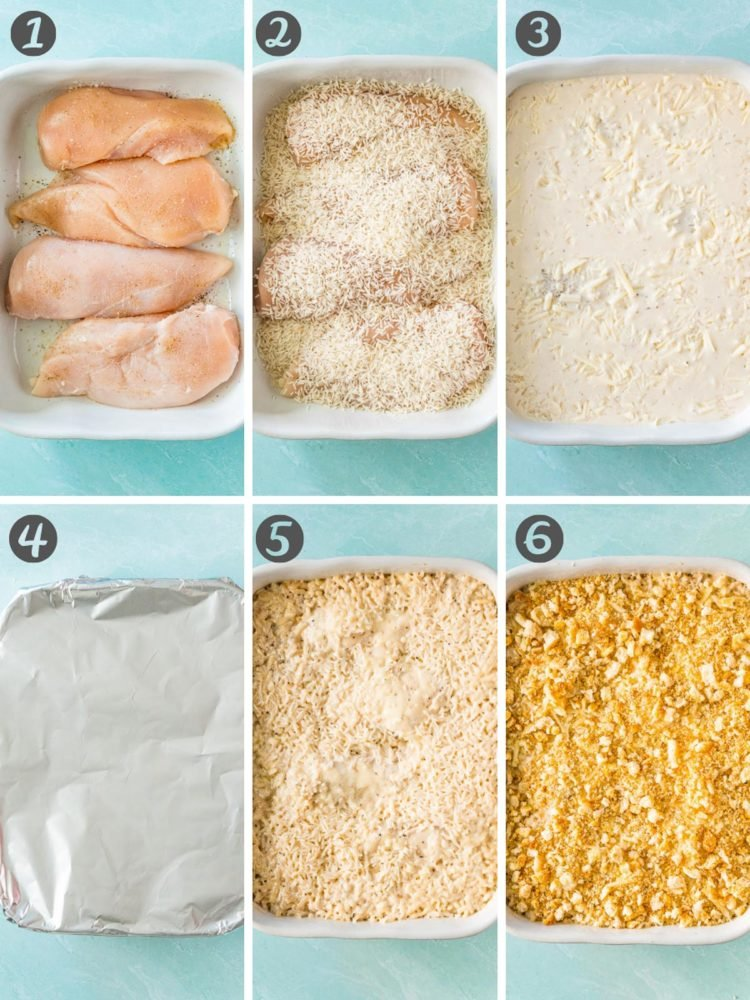 step by step photos for how to make chicken and rice casserole.