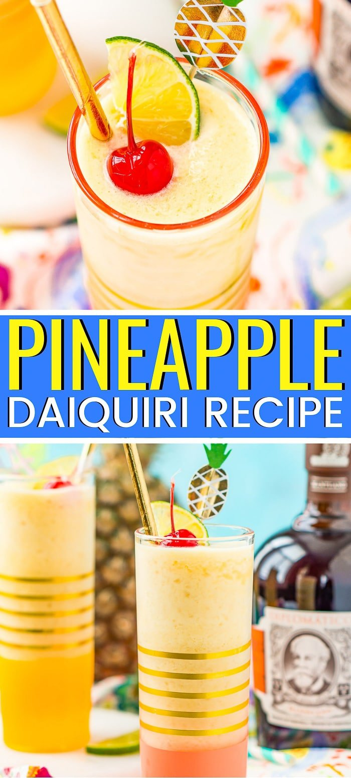 This Pineapple Daiquiri is a delicious and easy frozen cocktail recipe made in a blender with pineapple, lime, simple syrup, and golden rum! via @sugarandsoulco