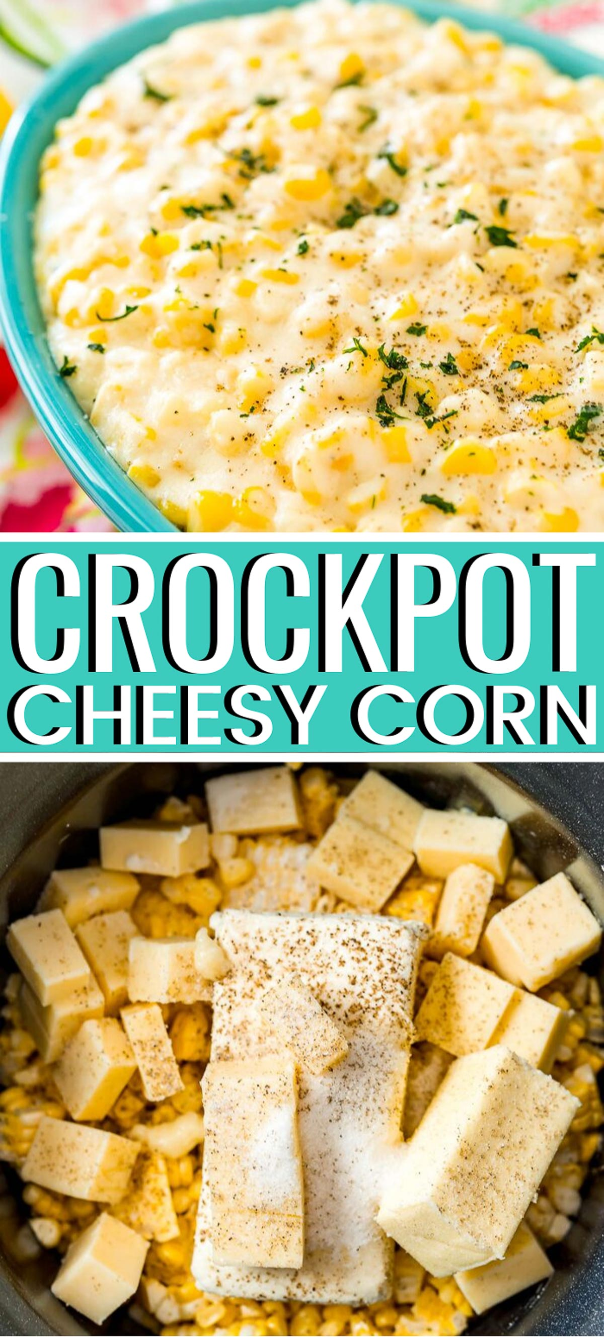 Cheesy Corn is a delicious side dish made in the crockpot with corn, cheddar cheese, butter, cream cheese, heavy cream, and seasonings. via @sugarandsoulco
