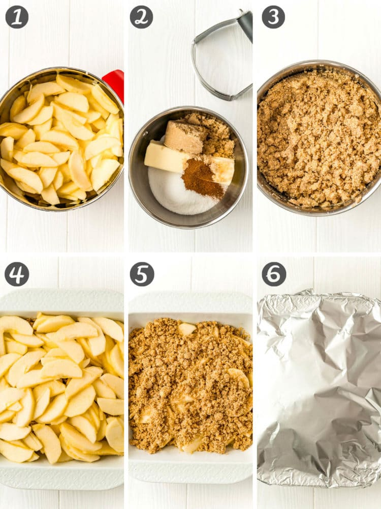 Step-by-step photo collage showing how to make apple brown betty dessert recipe.