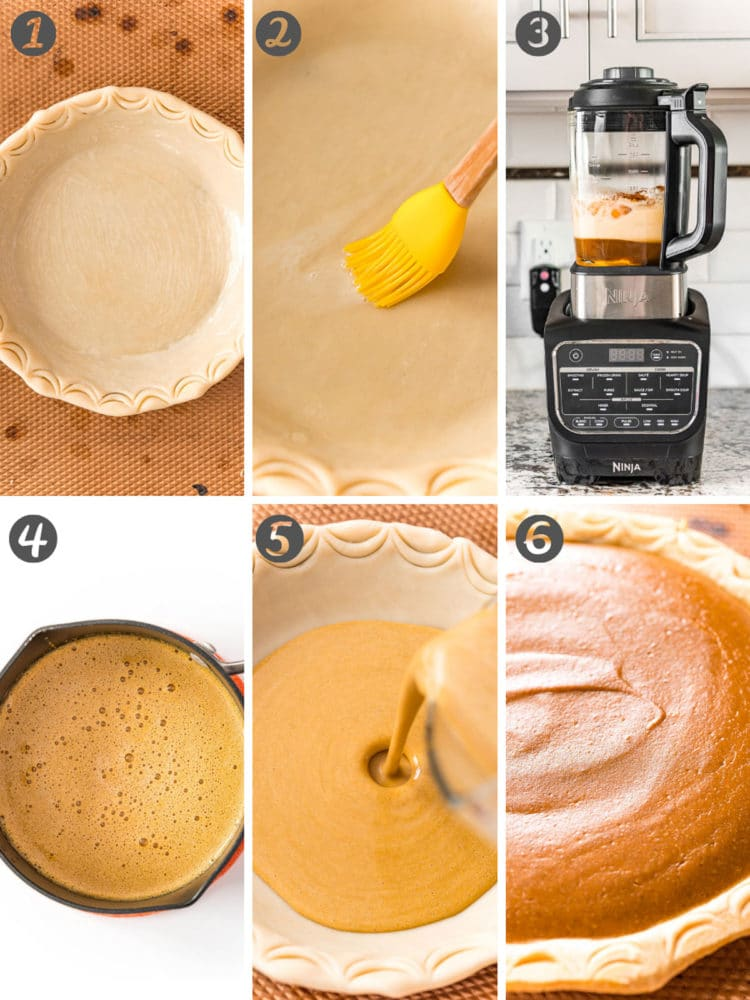 Step by step photo collage showing how to make pumpkin pie.