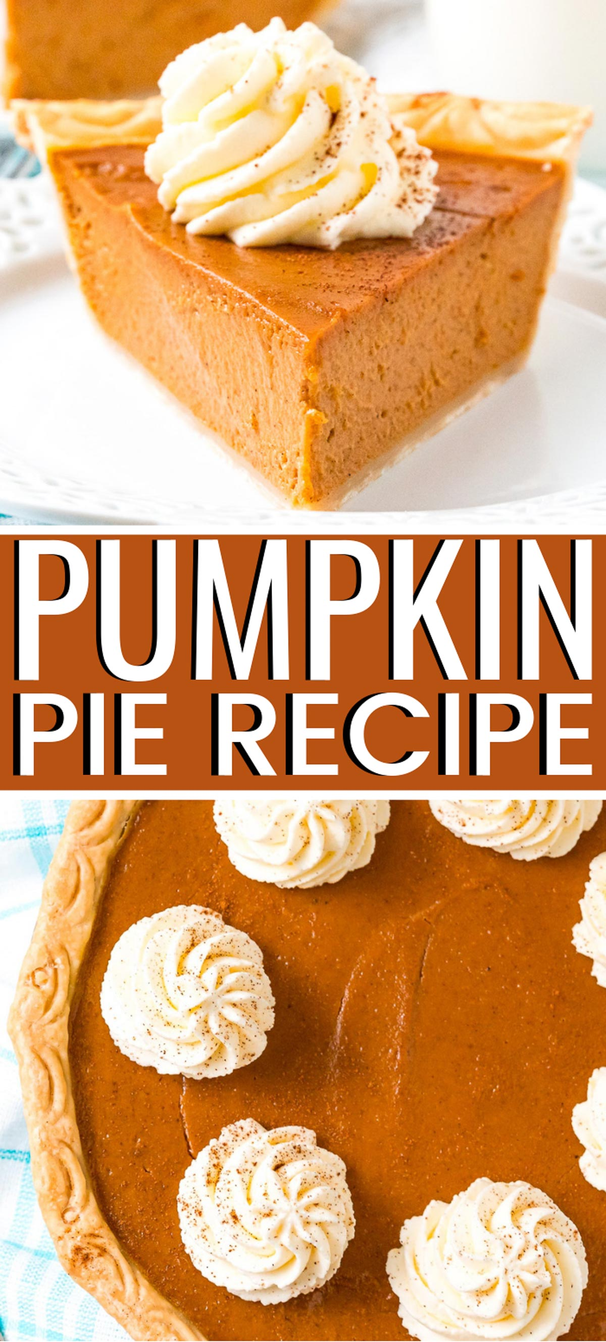 This Pumpkin Pie Recipe is perfect for fall and Thanksgiving! A smooth and creamy spiced pumpkin custard filling baked in a flaky pie crust. via @sugarandsoulco