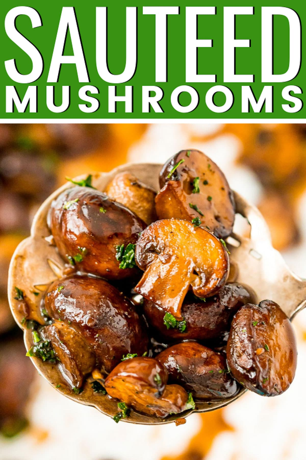 Sauteed Mushrooms are so easy to make! They are browned in butter and olive oil and seasoned with garlic and salt. A glaze made of balsamic, brown sugar, and black pepper make this side dish a total crowd-pleaser.   via @sugarandsoulco