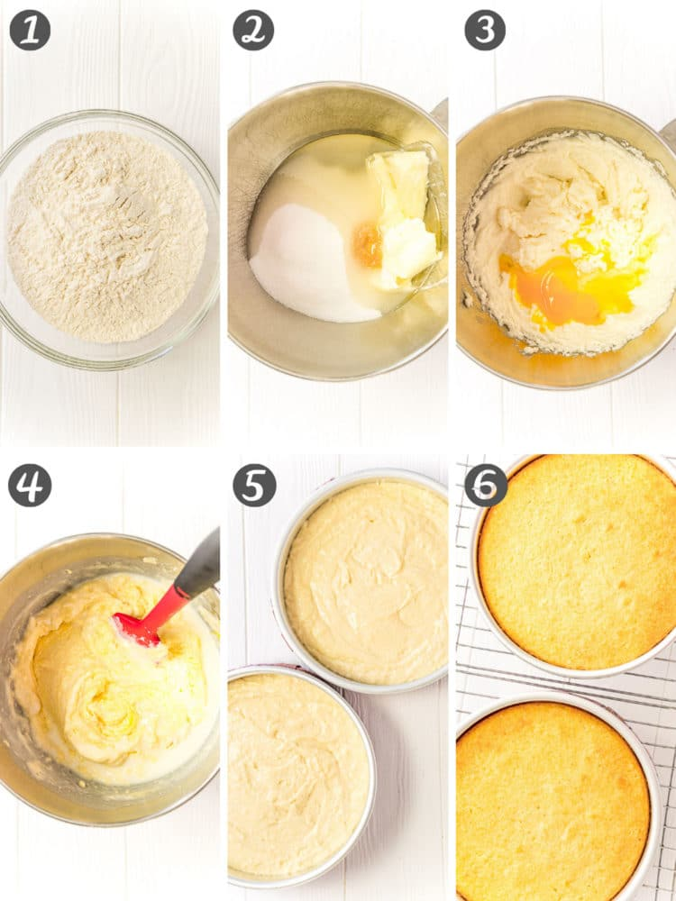 Step-by-step photo collage showing how to make yellow cake.