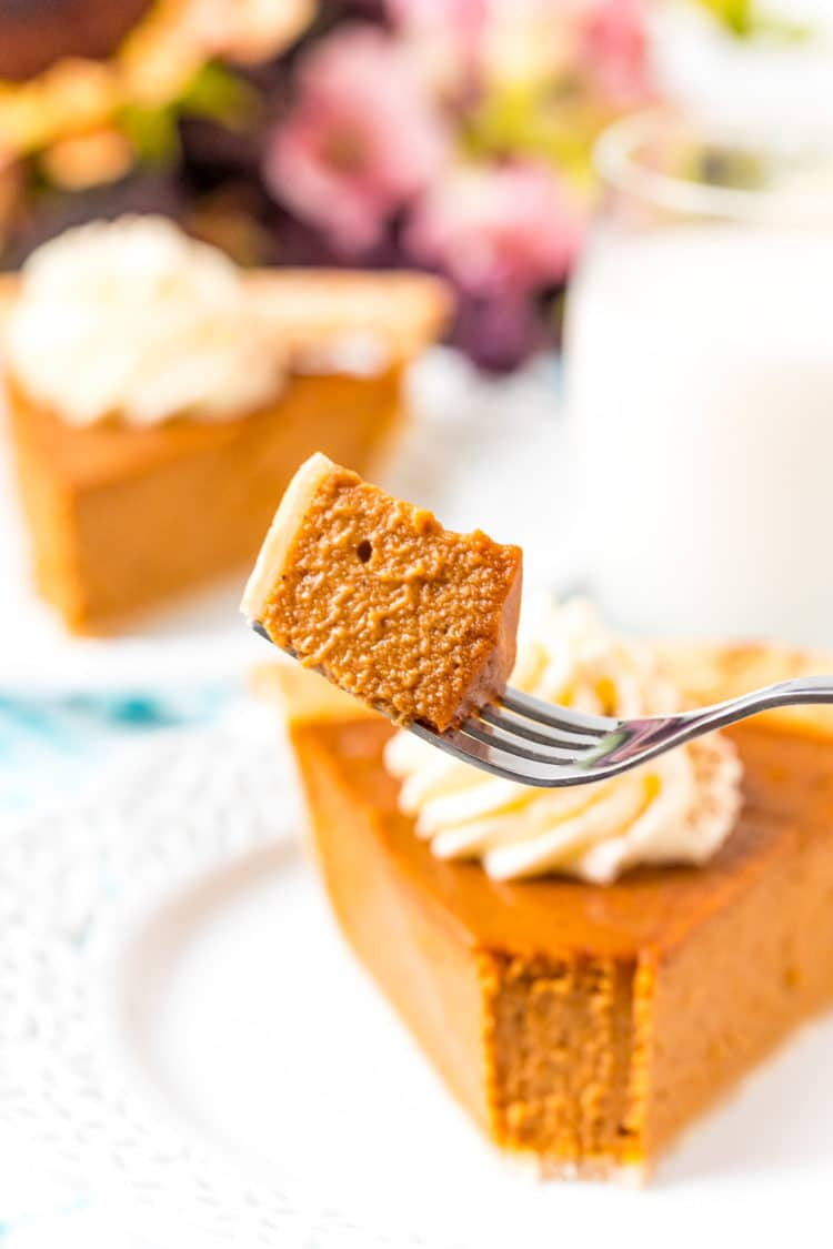 Bite of pumpkin pie on a fork with slices of pie in the background.
