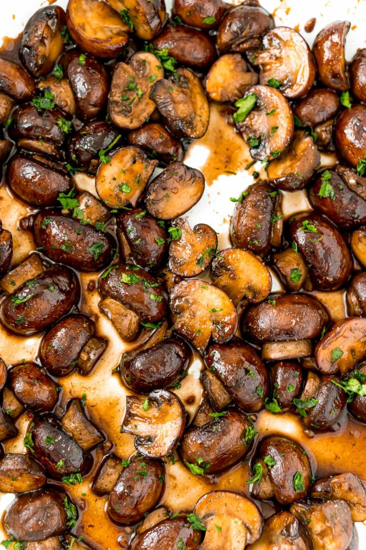 Overhead photo of of sauteed mushrooms.