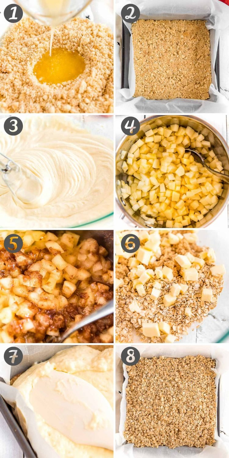 Photo collage with step-by-step photos showing how to make apple cheesecake bars.