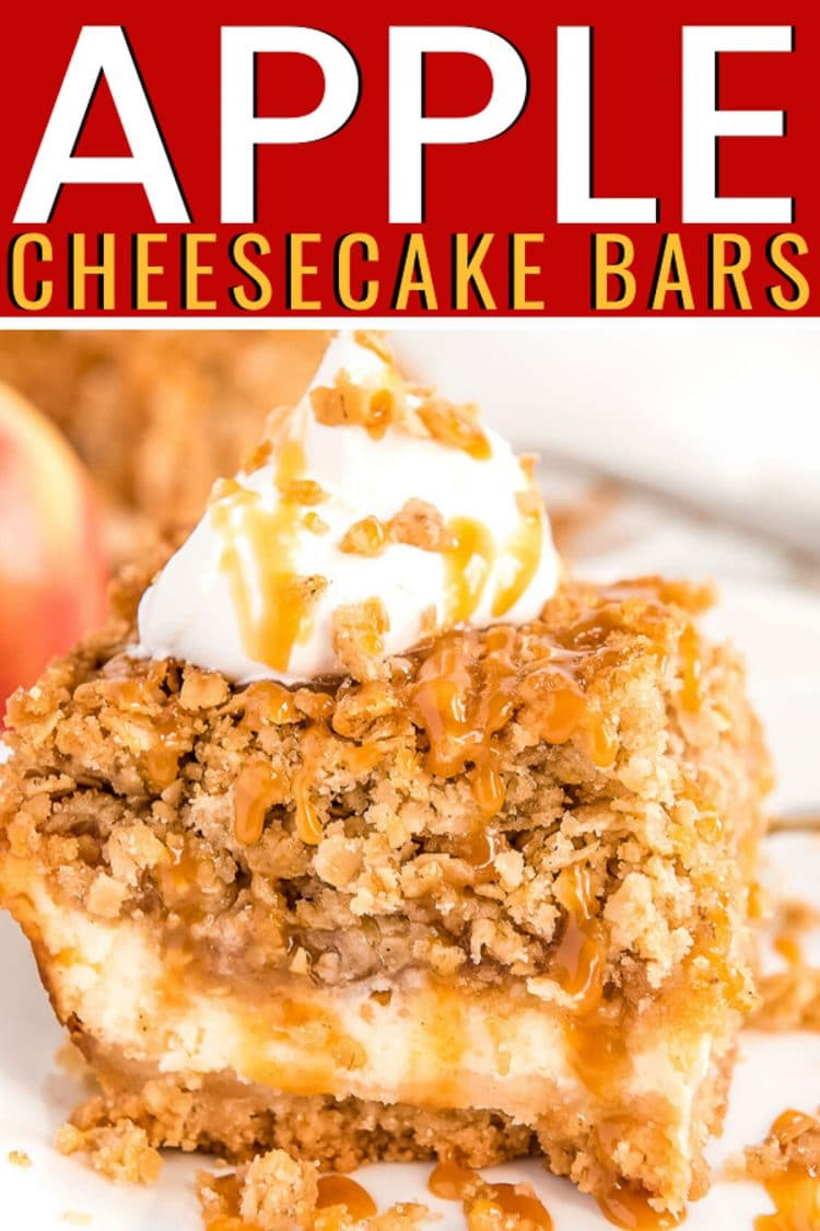 Apple cheesecake bar on a white plate with a descriptive title.