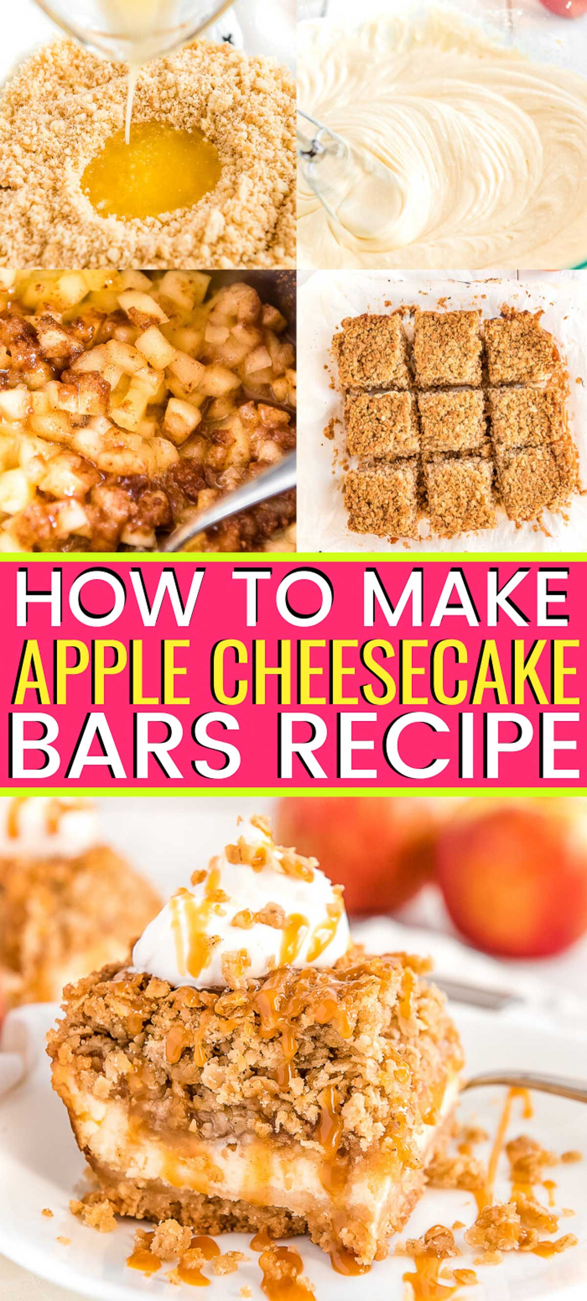 Caramel Apple Cheesecake Bars are made with a shortbread crust, a creamy cheesecake layer, cinnamon baked apples, and an oatmeal crumble topping! via @sugarandsoulco