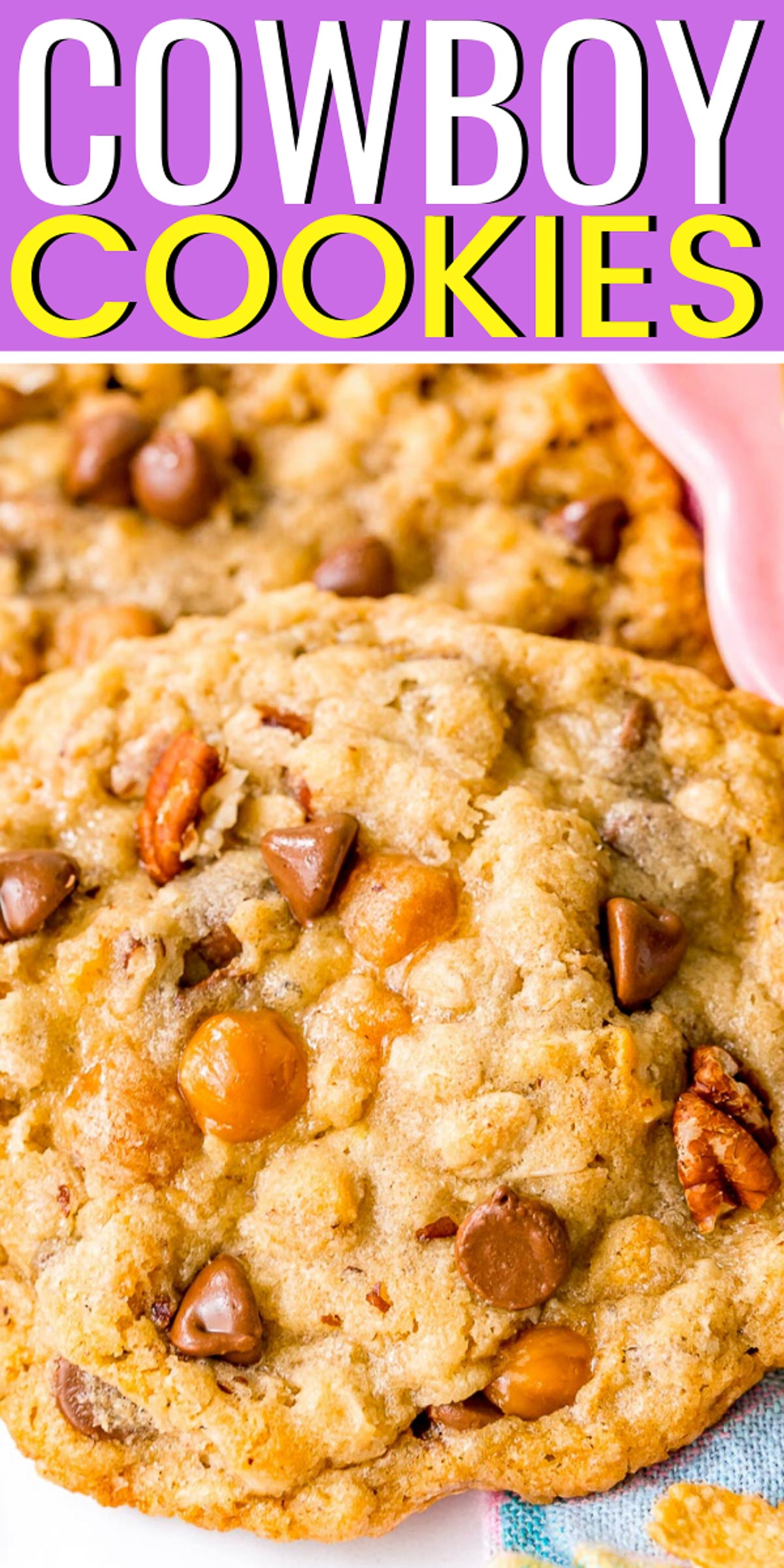 Cowboy Cookies are large oatmeal cookies with a crisp edge and soft chewy center loaded with pecans, chocolate chips, caramel, coconut, and cornflakes. via @sugarandsoulco