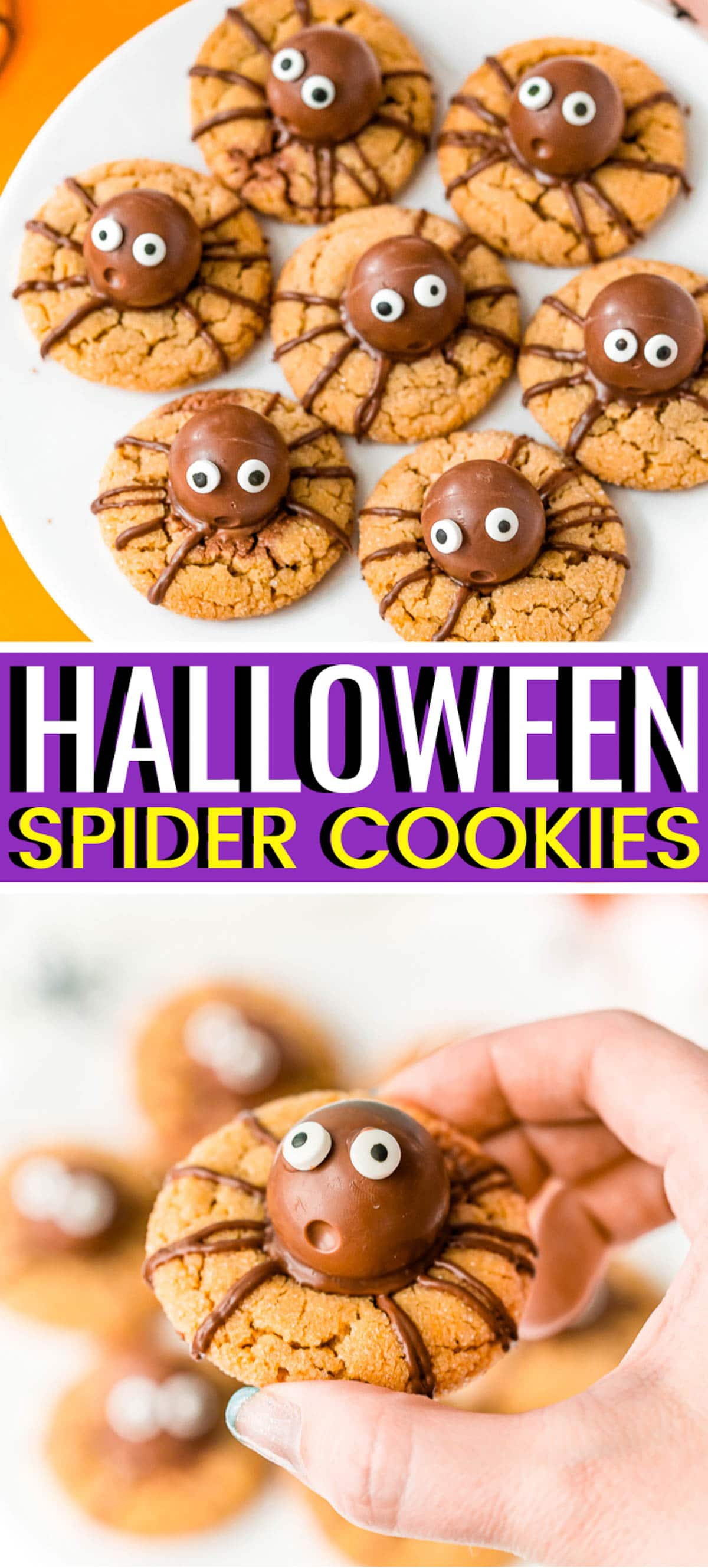 Halloween Spider Cookies are a spooky twist on classic Peanut Butter Blossoms! Made with truffles nestled in soft, chewy peanut butter cookies and decorated with chocolate and candy eyes. via @sugarandsoulco