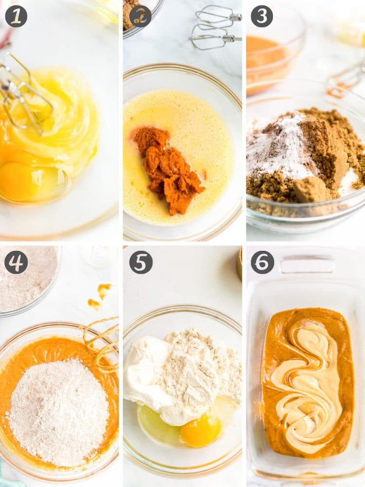 Step-by-step photos showing how to make pumpkin bread swirled with cream cheese.