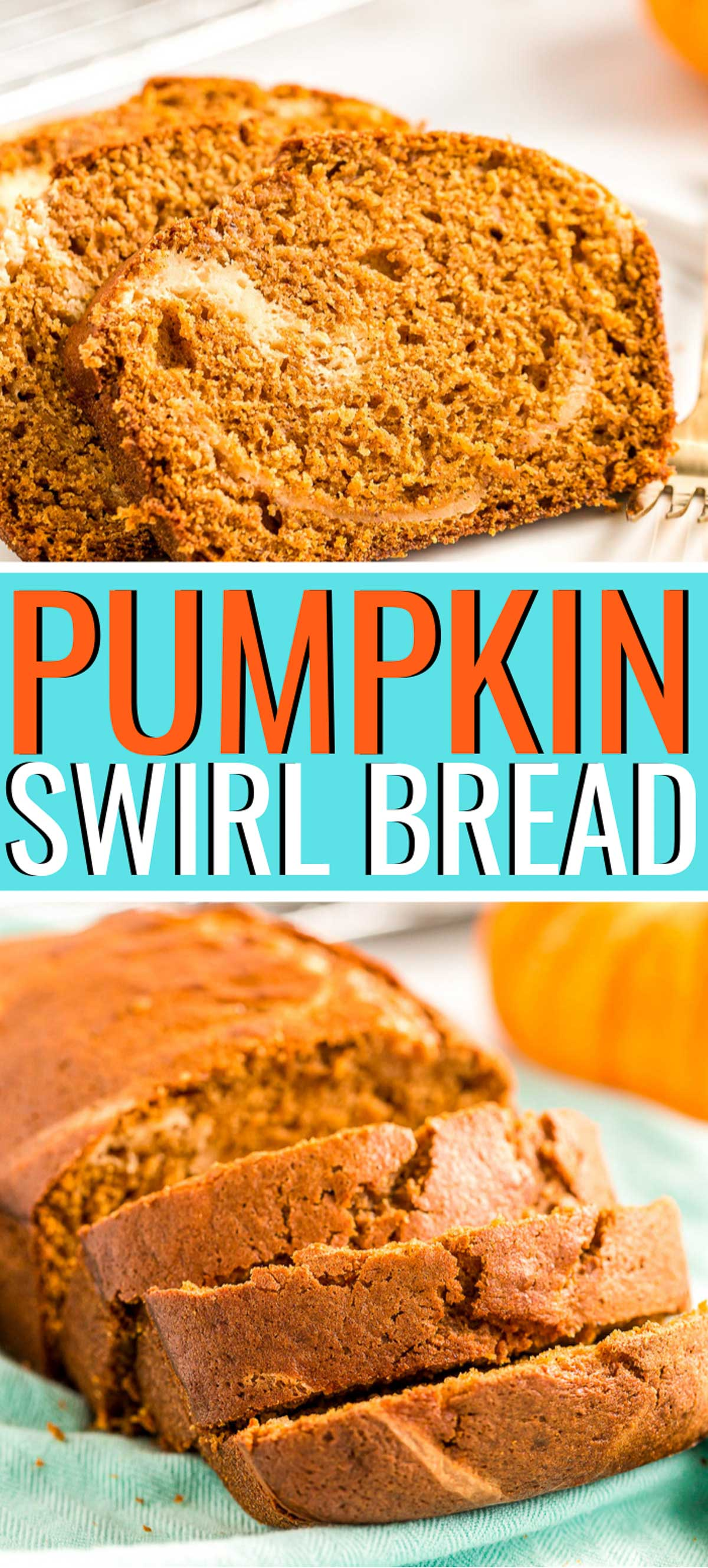 Pumpkin Cream Cheese Bread is a delicious fall quick bread recipe loaded with pumpkin flavor and swirled with caramel cream cheese filling. via @sugarandsoulco