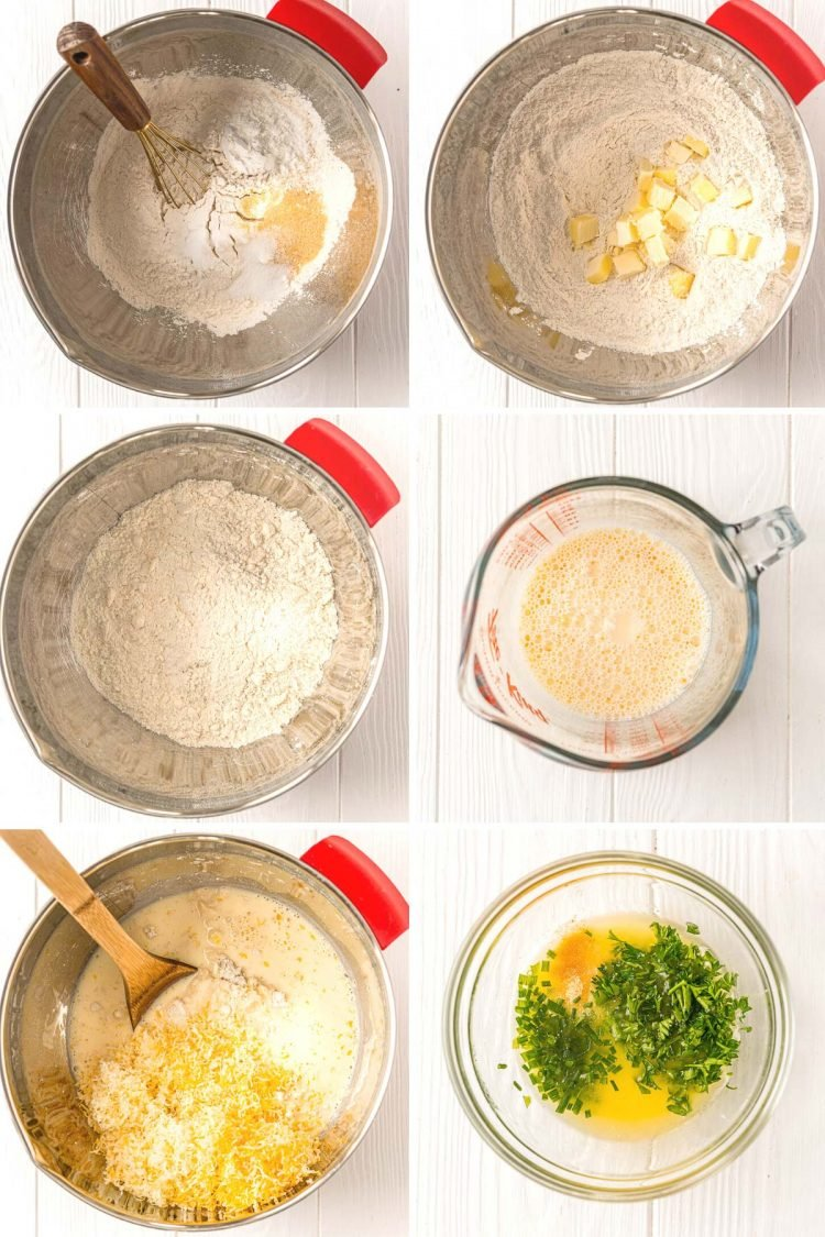 Step by step photo collage showing how to make cheddar biscuits.