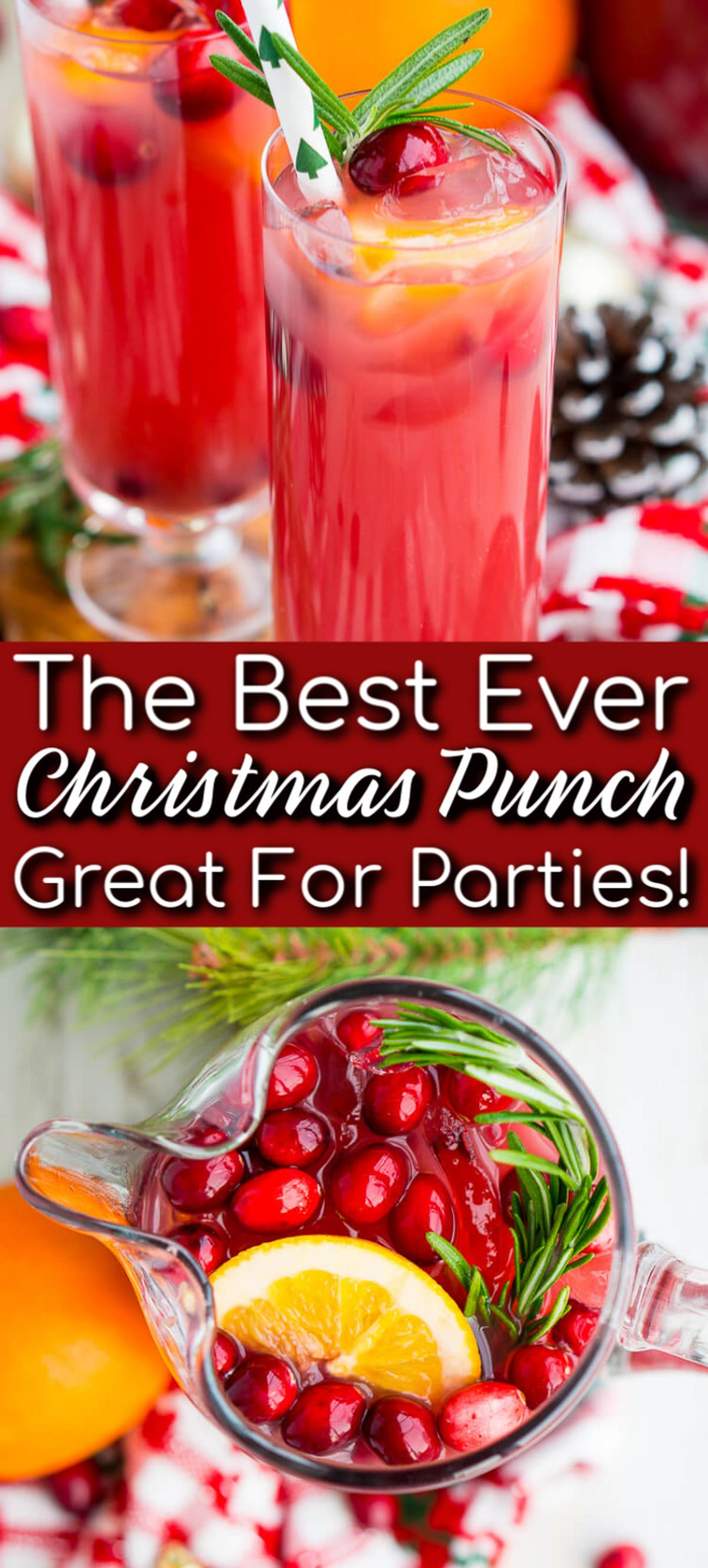 Christmas Punch is an easy and delicious holiday party drink packed with fruits like cranberries, oranges, and pomegranates. Keep it non-alcoholic or add rum or vodka for extra holiday spirit! via @sugarandsoulco