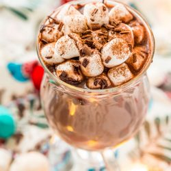 Close up image of a mug of hot chocolate.