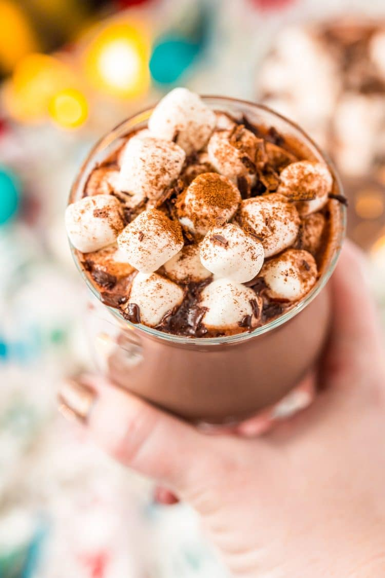 Woman's hand holding a mug of hot chocolate topped with marshmallows and cinnamon.