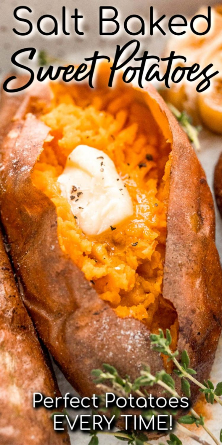 Close up photo with text overlay for salt baked sweet potatoes.
