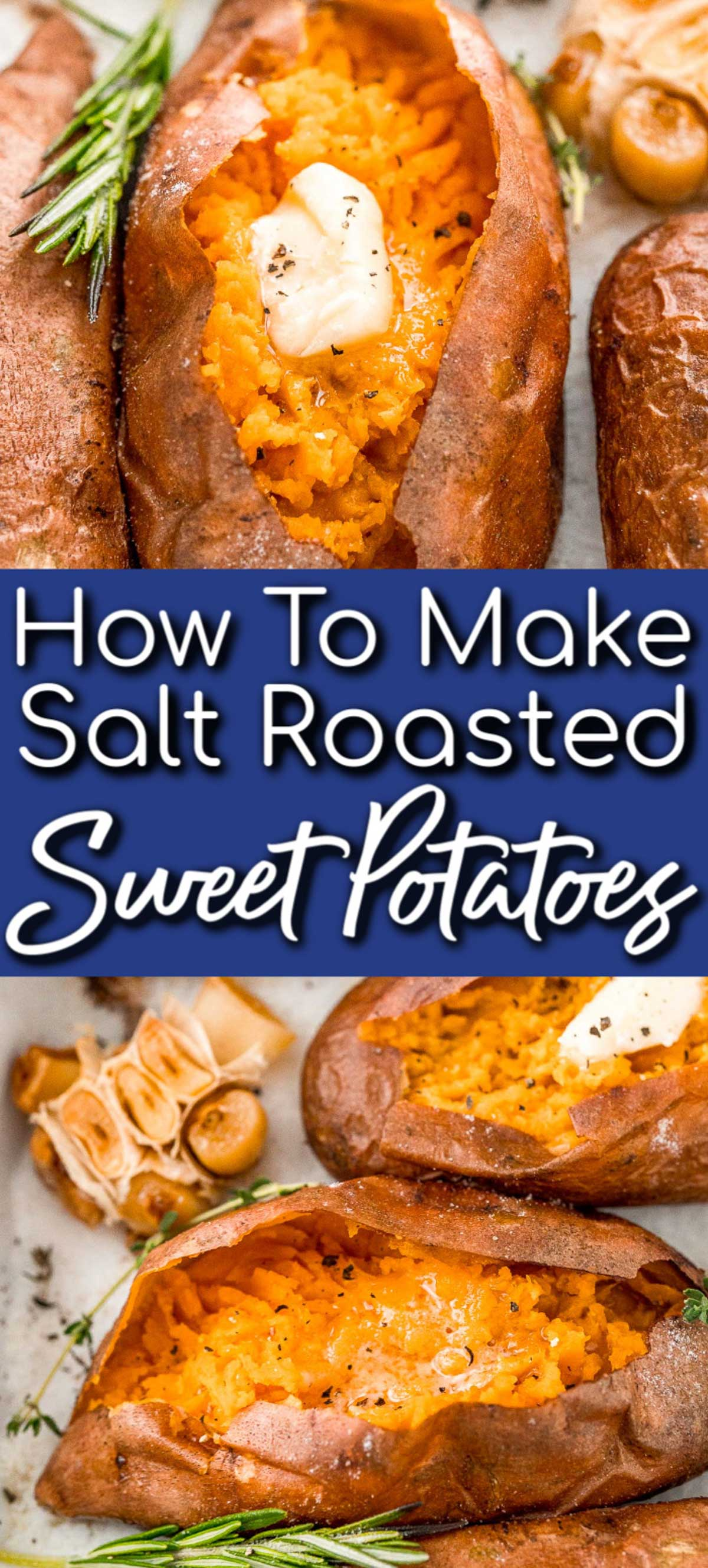 Salt Baked Sweet Potatoes are deliciously tender on the inside with a crispy and salty skin. Herbs and garlic add delicious flavor to this traditional side dish! via @sugarandsoulco